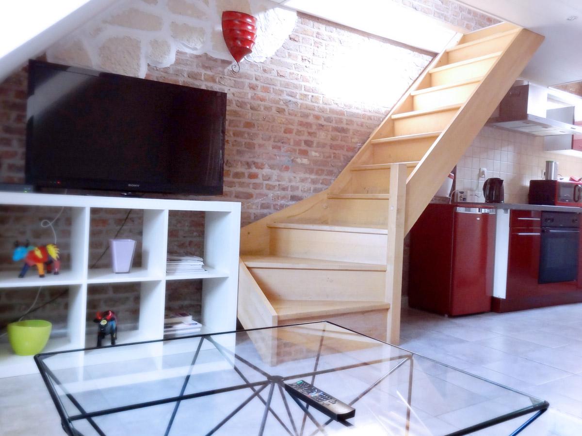 Salon avec Tv écran plat et rangements